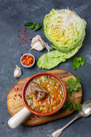 Traditional soup with cabbage and oxtails.