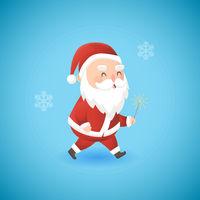 Festive Christmas funny Santa Claus with sparkler vector