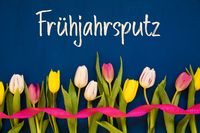 Colorful Tulip, Fruehjahrsputz Means Spring Cleaning, Ribbon, Blue Background