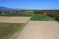 Muster aus begrünten und brachliegenden Felder, Kanton Genf, Schweiz
