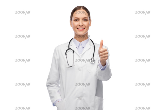 smiling female doctor showing thumbs up