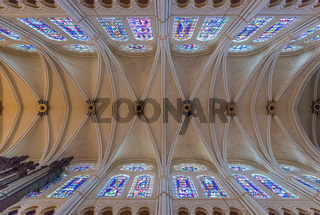 Chartres Cathedral vaulted roof and stained glass windows