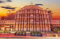 Hawa Mahal palace in Jaipur, India, beautiful sunset view