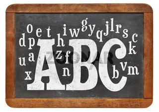 ABC and alphabet on blackboard
