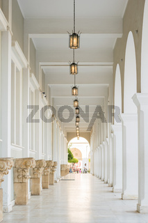 Historic building passage with lights