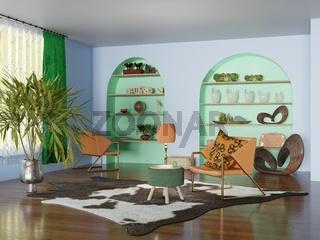 3D Render eines Wohnzimmers mit Möbeln, Dekoration und Pflanzen