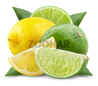 Lime and Lemon with leaves isolated on white background. Clipping Path
