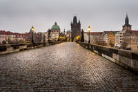 In the morning on Charles Bridge in Prague