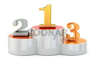 Podium with numbers of places on white isolated background.