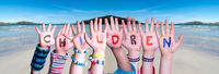 Children Hands Building Word Children, Ocean Background