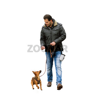 A man and his little dog practicing 'walking to heel' isolated on white background