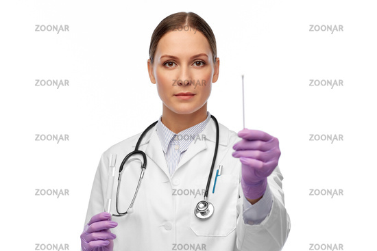female doctor with test tube and cotton swab