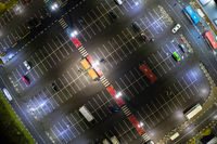 Parking At Night Aerial View