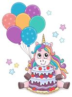 Unicorn with cake and balloons theme 1