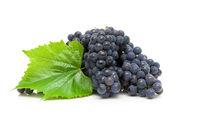 ripe grapes closeup on white background