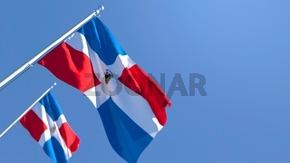 3D rendering of the national flag of Dominican Republic waving in the wind