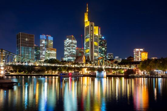 Skyline of Frankfurt at the Main river at night
