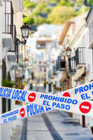 Mijas quarantined street caused by COVID-19. Spain