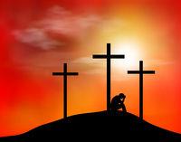 Cross man longing sadness sunset