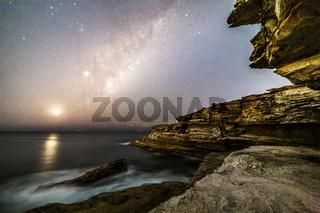 Starry sky from Sydney cliffs