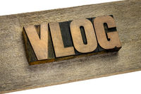 vlog (video blog) word in wood type