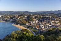 Aerial view of the San Sebastian coastal city, Spain