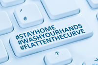 Stay home hashtag stayhome flatten the curve Coronavirus corona virus infection computer keyboard