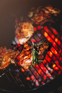 Pieces of meat on grill over fire