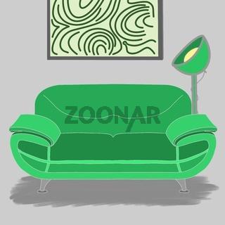 Illustration eines grünen Sofas