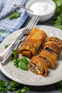Thin pancakes stuffed with meat and egg.