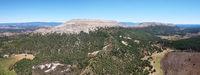 Aerial view of mountainous landscape in Santo Domingo de Silos, Burgos, Castilla y Leon, Spain.