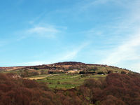 panoramic view of midgley moor in calderdale west yorkshire with surrounding village and farms behind the calder valley
