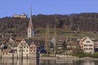 Stein am Rhein mit Kloster St. Georgen und Burg Hohenklingen