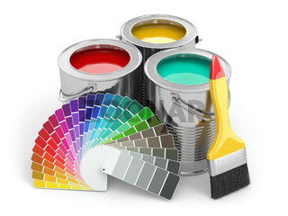 Cans of paint with colour palette and paintbrush.