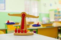 Montessori wooden scale at primary school room