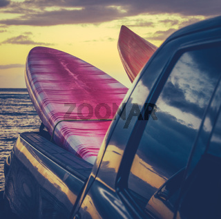 Retro Surf Boards In Truck