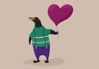 Dressed penguin holding balloon. Cute animal vector illustration.