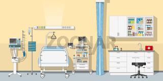 Illustration an intensive care unit