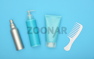 Feminine beauty hair care set on blue