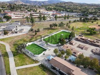 Aerial view of Kit Carson Park, municipal park in Escondido