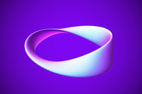3D blue Moebius strip isolated on blue background.