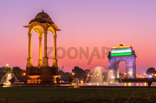 The India Gate and the Canopy, night illuminated view, New Delhi, India