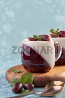 Vanilla berry Panna cotta.Traditional Italian dessert.