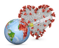Globe with a syringe and heart