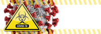 Banner of Coronavirus COVID-19 Bio-hazard Warning Sign with Virus Illustration Behind
