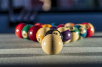 A Racked Up Triangle Of Billiard Balls Ready For A Game Of Pool