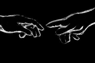 Fingerzeig  schwarzer Hintergrund