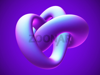 3D blue torus knot on blue background.