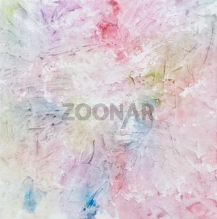 Mit Wasserfarbe gemaltes Aquarell mit Farbklecksen und Streifen in Rot, Blau, Lila