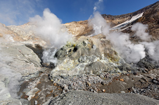 Fumarole, brimstone field in crater active volcano of Kamchatka Peninsula
